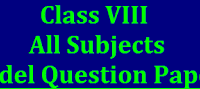 8th class rbse board paper 2019 Model Questions Papers with answers