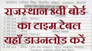 Rajasthan 8th Class Time Table 2019 DIET 8th Time Table Download