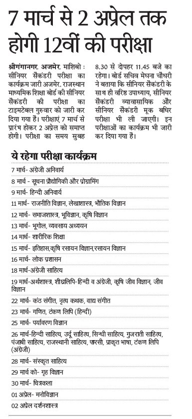 RBSE 12th Class Time Table 2020 Rajasthan Board 12th Time Table