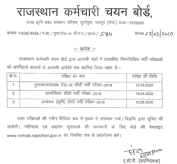 RSMSSB librarian Exam Merit List 2021 Result